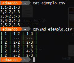 Convertir fichero csv a markdown (csv2md)